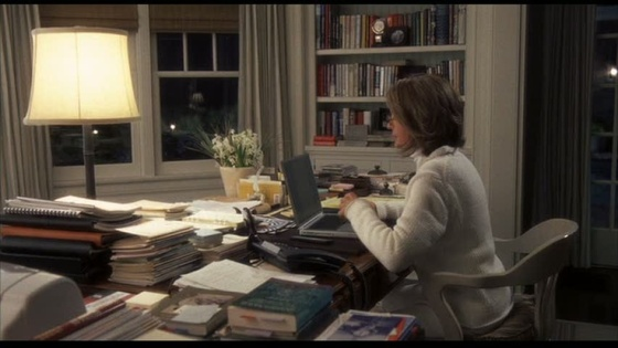 Diane Keaton at her writing desk on the set of Somethings Got to Give